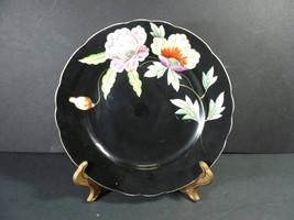 """Vintage 1945-1952 Ardalt Lenwile China Black Floral Plate 7 1/2"""" - Japan - $19.99"""
