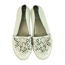 Christian Dior pelle Bianca Taglio Laser Floreale Impreziosito Espadrillas 38 - $415.79
