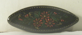 vintage unsigned russian hand painted flowers on black lacquer wood broo... - $10.00