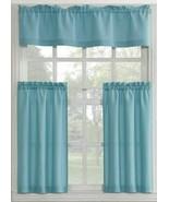 """3pc. Curtains Set: 2 Tiers(27""""x36"""") & Valance(54""""x14"""")AQUA BLUE,MINERAL,... - $19.79"""