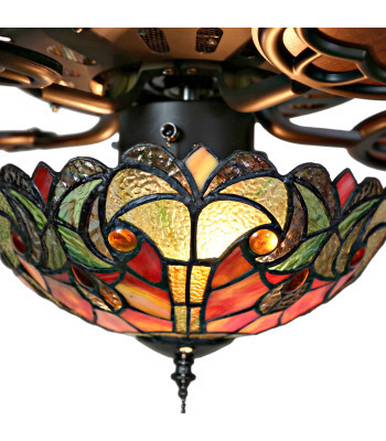 """16159S Tiffany Style Stained Glass Vivaldi 52"""" Ceiling Fan - Spice"""