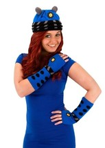 Doctor Who Blue Dalek Image Knitted Licensed Beanie Hat & Arm Warmers NE... - $26.85