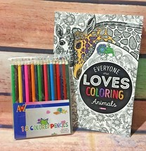 BENDON Adult Animals Coloring Book & A to Z 18 Ct Colored Pencils NEW - $6.74