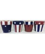 Napkin Ring Set (12) Patriotic Stars & Stripes Hand Painted Ceramic - $13.81
