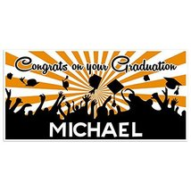 Orange And White Graduation Banner Personalized Class of 2018 Party Back... - £16.88 GBP