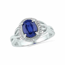 10k White Gold Womens Oval Lab-Created Blue Sapphire Solitaire Diamond Ring - £190.83 GBP