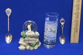 Florida Sea World Souvenir Snow Globe Shot Glass & Spoons Tampa  Lot of 4 - $15.83