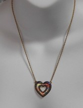 Vintage Avon Multi-color Cloisonne' Enamel Floral Heart Pendant Necklace  - $15.83