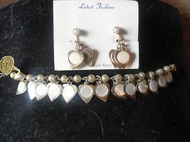 Mother of pearl earrings, necklace, bracelet se... - $80.75
