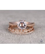 Round Cut Pink Morganite 14k Rose Gold FN 925 Silver Women's Engagement Ring Set - $132.99