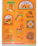 1990 Hallmark Happy Thanksgiving Turkey pilgrim hat stickers 4 Sheets - $15.16
