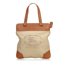Vintage Burberry Brown Beige Canvas Fabric Tote Bag United Kingdom - $340.34