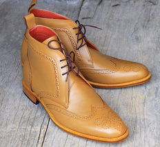 Handmade Men's Tan Wing Tip Heart Medallion Lace Up High Ankle Leather Boots image 2