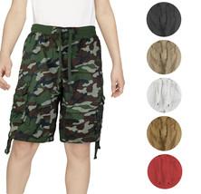 Boys Elastic Waist Drawstring Multi Pocket Cotton Toddler Kids Cargo Shorts image 1