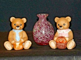 HOMCO Bears and a blown glass Vase AA-191708 Vintage Collectible 3 Pieces image 2