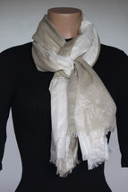 NEW Calvin Klein Latte Cream Women's Neck Scarf Wrap Rayon size 28x72 - $14.84