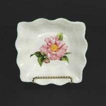 Mottisfont Rose Bone China Square Dish Cream Pink Rose Lee Kay Design  - $23.75