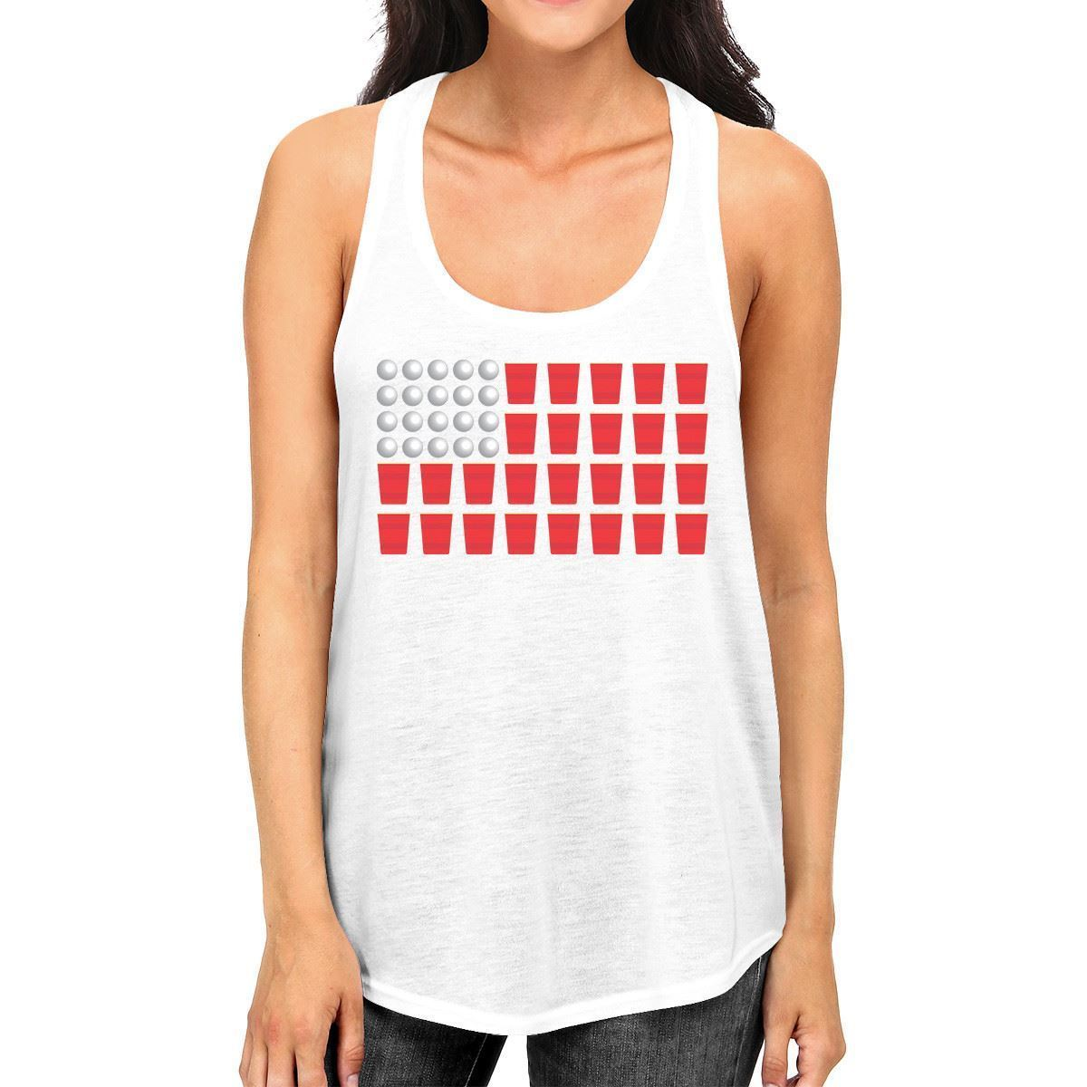 Beer Pong Flag Women White Cotton Tank Top Funny 4th Of July Gift