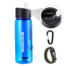 SGODDE 22.2 OZ Sports Water Bottle BPA Free  with Filter Outdoor Portabl... - £26.27 GBP