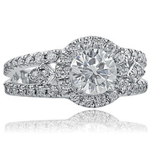 2 Carat Round Diamond Split Shank Halo Vintage Engagement Ring 14k White... - €4.923,45 EUR