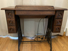 Vintage Antique Singer Treadle Sewing Machine Table With Montgomery Ward Machine - $166.71 CAD