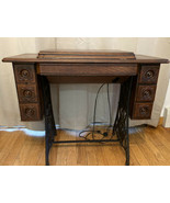 Vintage Antique Singer Treadle Sewing Machine Table With Montgomery Ward Machine - $166.08 CAD