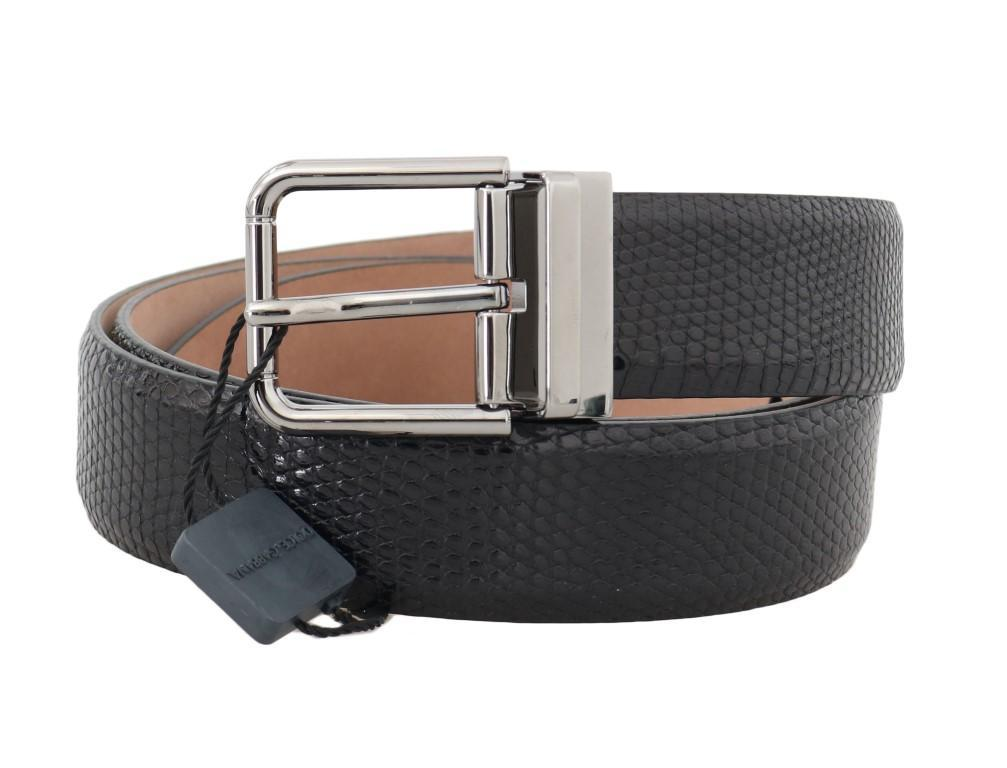 Gray Ostrich Leather Silver Buckle Belt