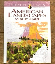 LOT OF 2 ADULT COLORING BOOK AMERICAN LANDSCAPES COLOR BY NUMBER CREATIV... - $8.99