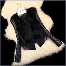 Black PU Leather Long Sleeve Faux Fur Vest Back n Front Short Waist Coat Jacket  image 2