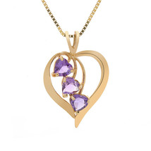 1.25 Carat Amethyst Gemstones Heart Pendant 10K Yellow Gold - $240.57