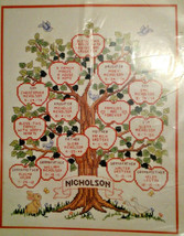Bucilla 40577 Family Tree Counted Cross Stitch Kit 1993 Wooden Hoop - $36.28