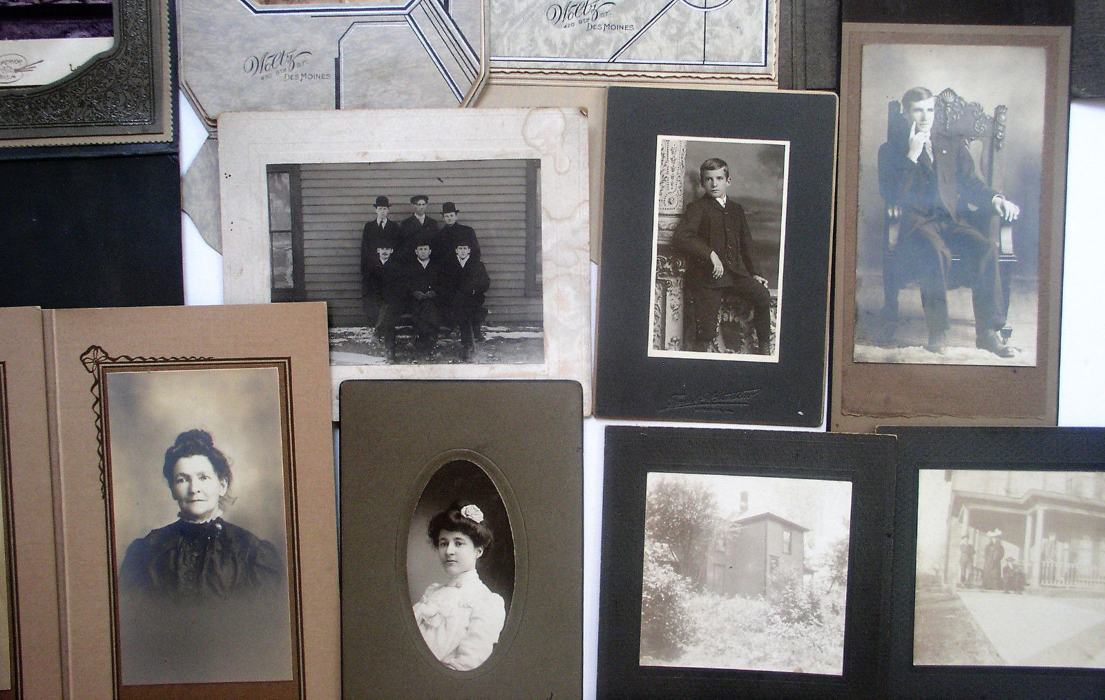 Old Antique Vintage Black And White Photos 14 Portraits 2 Houses Great Shape