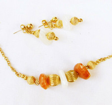 Avon necklace and earring set natural agate stones 1990s jewelry - $5.45