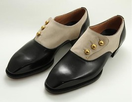 Handmade Men's Black And Tan Leather and Suede Buttons Shoes image 1