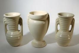 Set of 3 Matte Ivory Creamware Bud Ribbed & Double Handled Vases USA Art... - $34.00