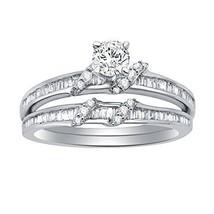 0.77 Ct Round Baguette Diamond Sterling Silver Solitaire Engagement Bridal Set - $205.91