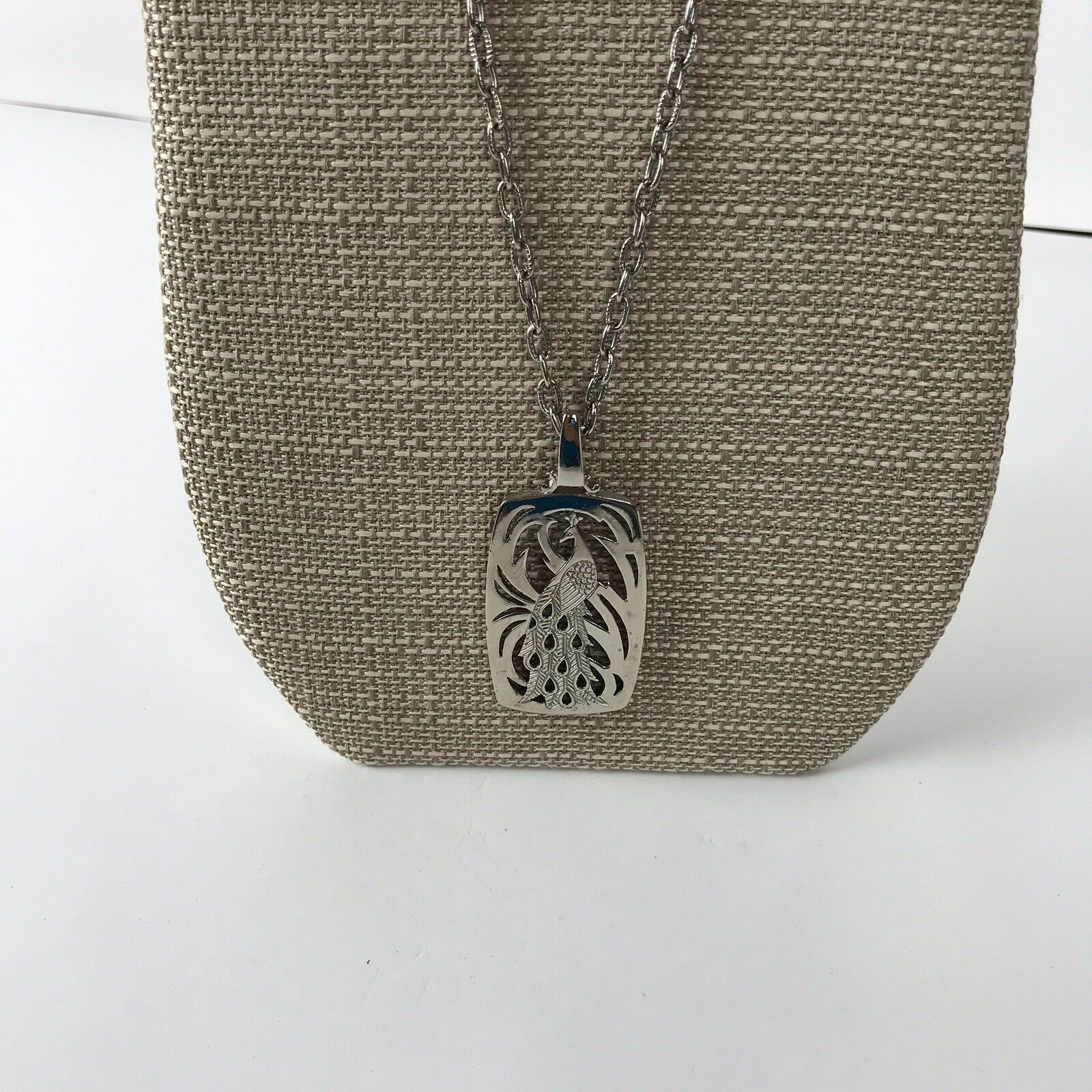 Vtg Peacock Necklace Bird Pendant Silver tone statement Boho