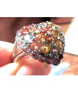yellow green orange blue SAPPHIRE RING 8 heart MULTI REAL natural silver... - $60.60