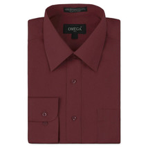 Omega Italy Men's Burgundy Dress Shirt Long Sleeve Regular Fit w/ Defect - XL