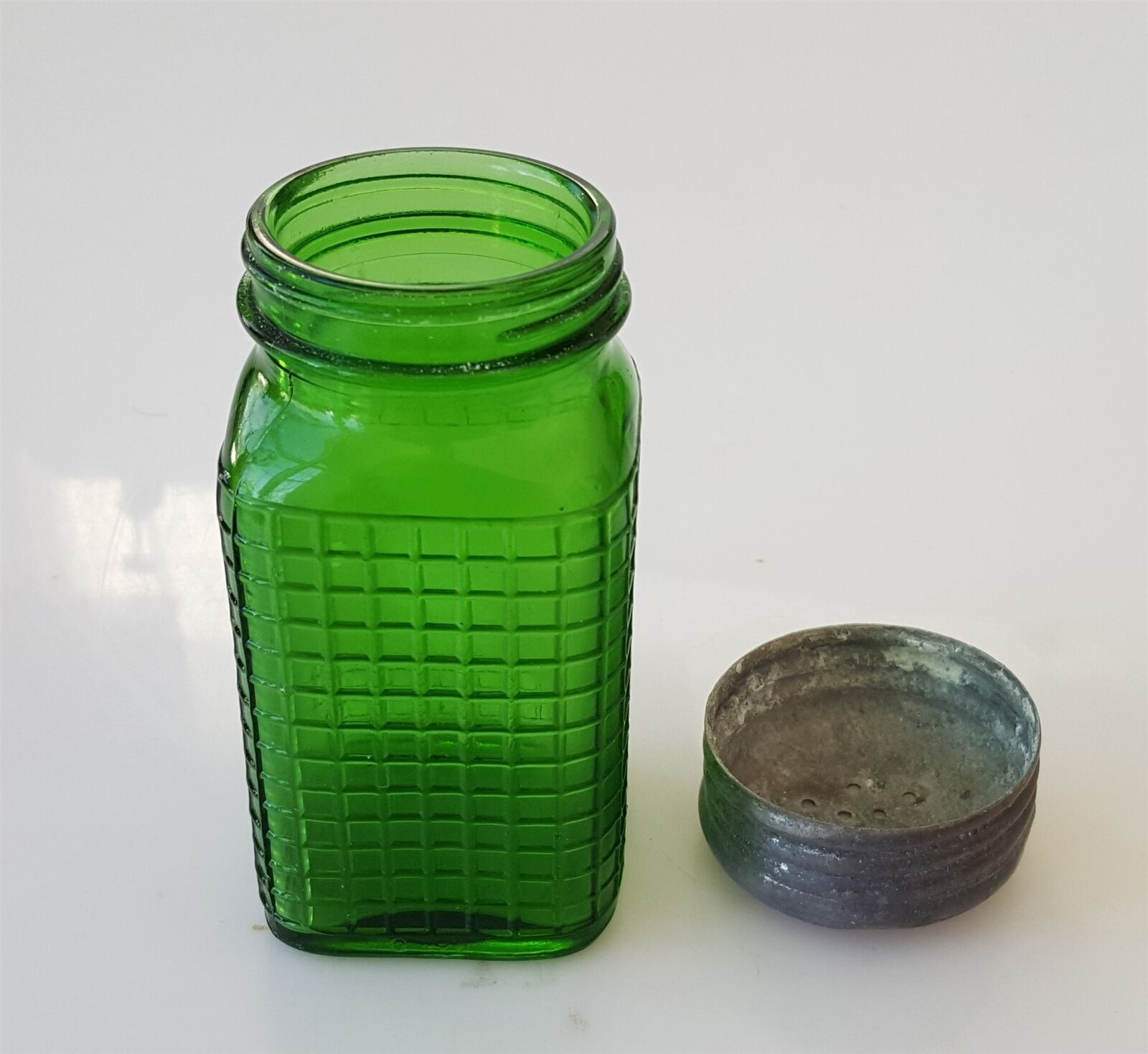 Primary image for antique WAFFLE emerald GREEN GLASS RANGE SHAKER SUGAR w LID SPICE JAR hoosier