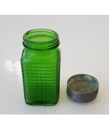 antique WAFFLE emerald GREEN GLASS RANGE SHAKER SUGAR w LID SPICE JAR ho... - $34.95