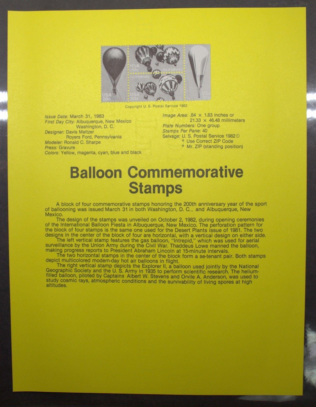 SCOTT 2032-2035 HOT AIR BALLOONING 1983   SHEET OF 40 20 CENT STAMPS #59588-3DBW