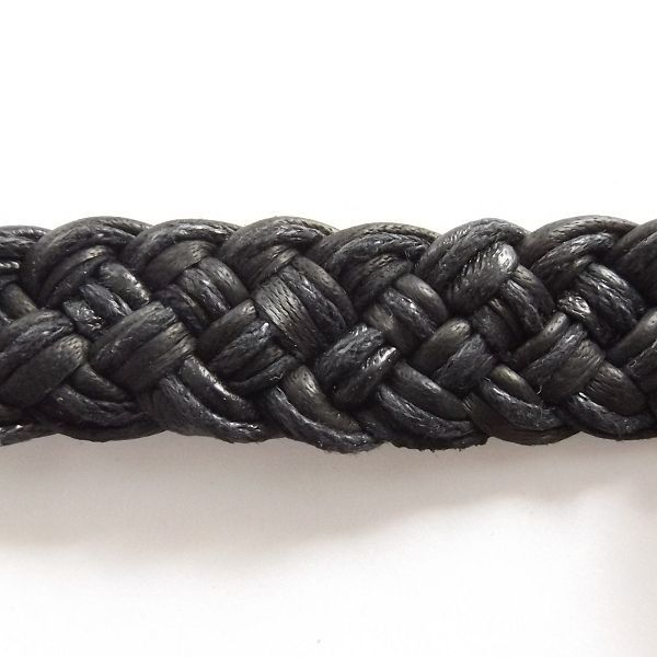 BLACK LEATHER WOVEN TIE ON FRIENDSHIP BRACELET WITH ABALONE SHELL PEARL DISC image 3