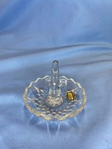 Zajecar Hand Cut Lead 24 Percent Crystal Clear Ring Holder Stand Yugoslavia - $9.99