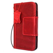 Genuine Natural leather Case for iPhone 7 wallet cover holder magnetic red - $44.99
