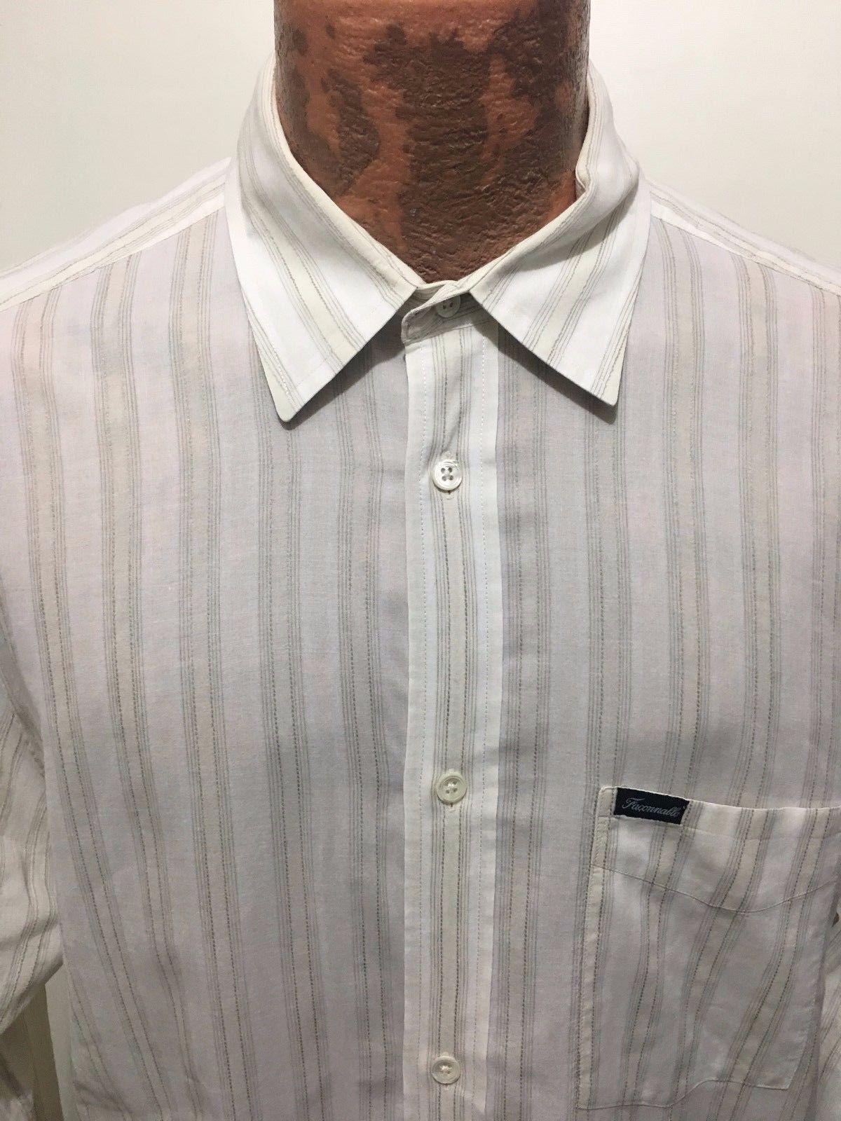 a180fa95 S l1600. S l1600. Previous. Faconnable Mens L Beige White Striped Cotton Linen  Long-Sleeve Shirt Lightweight