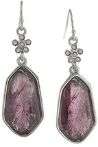 1928 Jewelry Silver-Tone Light Amethyst Crystal And Purple Faceted Drop ... - $36.56