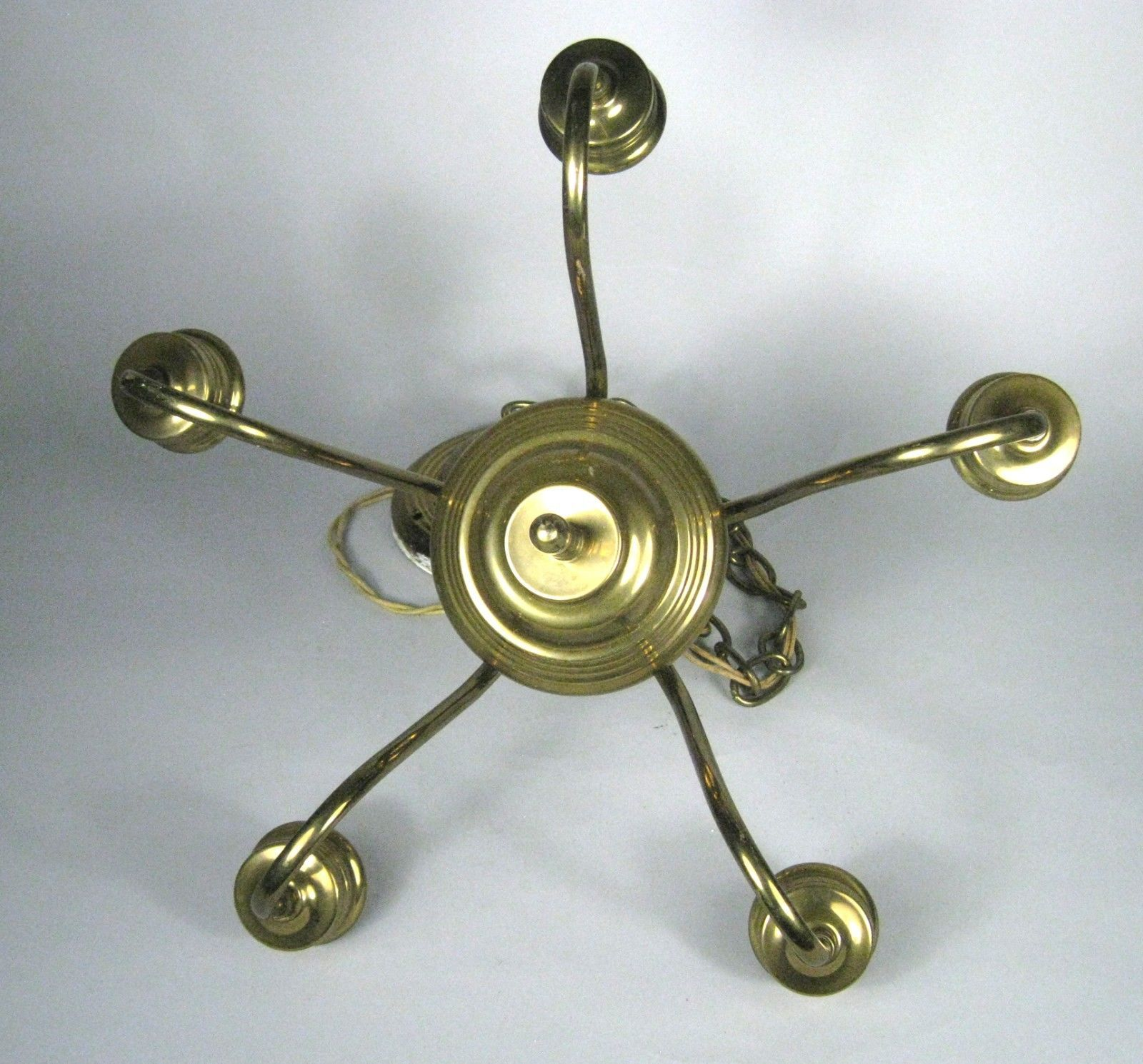 Chandelier Ceiling Light Fixture Brass 5 Arm Bulbs 2 Tier 1 Ceiling Rose Union