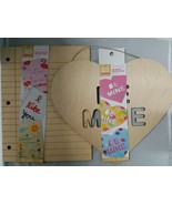 Set of 2 Hand Made Modern Wood Unfinished Craft Be Mine & Notepaper Wood... - $14.84