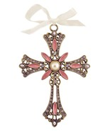 Decorative Cross Ornament Burgundy Swirled Paint and Rhinestones - $10.95